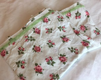 Vintage Pillowcases, Small Pink Roses, Glamping