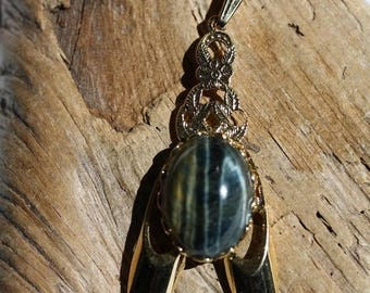 Spring Into Summer Sale- Blue Tiger Eye Pendant Gold Plated 13 x 18 mm - Item 1906