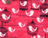 Birds and Birdcages Flannel Fabric. Red, Black and White Flannel Fabric. Very French, Cozy Cotton Flannel Fat Quarter or yardage