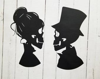 Skeleton Couple Halloween Vinyl Decal