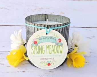 Spring Meadow Soy Wax Candle in 12 oz. Zinc Jar - Green Grass, Spring Candle, Cut Grass, Fresh Candle, Housewarming, Host Gift