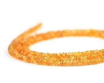 SUMMER SALE Mandarin Garnet Micro Faceted Rondelles 15 Orange Semi Precious Gemstone