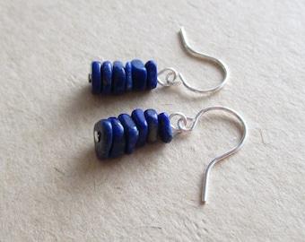 Lapis lazuli gemstone chip beads drop earrings