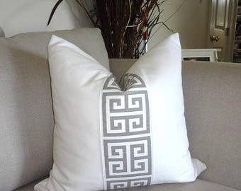 FALL is COMING SALE White & Grey Greek Key Pillow Cover Grey Greek Key Decorative Pillow Cover Choose Size