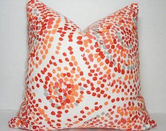 Bright and Colorful Peach Orange Grey Medallion Polka Dot Design Home Decor by HomeLiving Pillow Cover Size 18x18