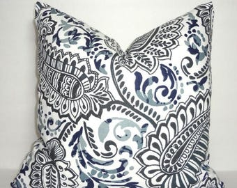 SPRING FORWARD SALE Grey Blue Paisley Floral Pillow Cover Decorative Pillow Cover Paisley Pillow Cover Choose Size