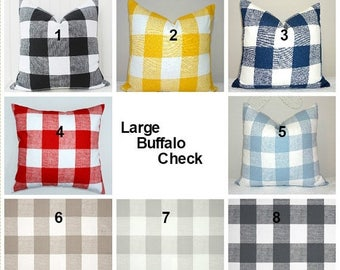 SPRING FORWARD SALE Large Buffalo Checked Blue Red Yellow Black Grey Pillow Covers Large Checked Pillow Covers Choose Size