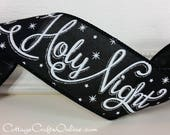 """Christmas Wired Ribbon 2 1/2"""", Holy Night, Silent Night Script - TEN YARD ROLL - Black with White, Silver Glitter """"Silent"""" Wire Edged Ribbon"""