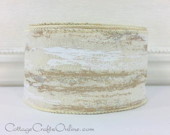 "Christmas Wired Ribbon, 2 1/2"", Frosted Birch Bark Look, Glitter TEN YARD ROLL, d Stevens, Birch ""Cream"" Winter Holiday Wired Edged Ribbon"