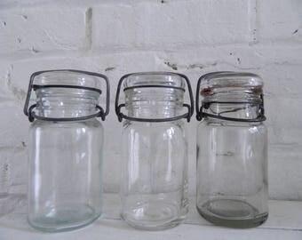 Vintage 1/2 Pint Mason Jars - 3 - Hazel Atlas