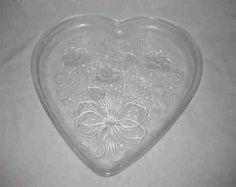 "Beautiful 12"" X 13"" MIKASA Heart Glass Serving Platter Tray"