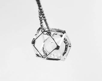 Silver Geometric Necklace, Silver diamond necklace, Whimsical necklace, Floating diamond necklace, Silver crystal necklace, Hollow polygon