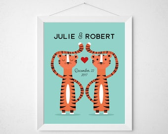 Tiger Wedding Print - Funny cute anniversary gift couple custom names date decor art - personalized modern tigers heart quote sign retro