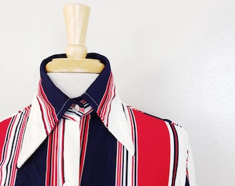 70s red white and blue striped big collar shirt