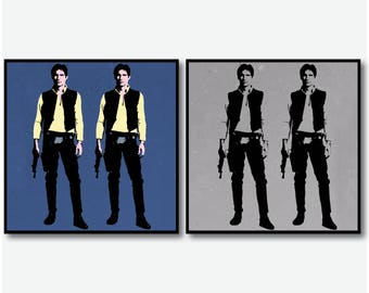 Cork Coasters Set - HAN SOLO Movie Poster - Andy Warhol Style