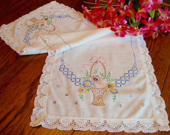 Embroidered Dresser Scarf Floral Embroidery Table Runner Vintage Table Linens