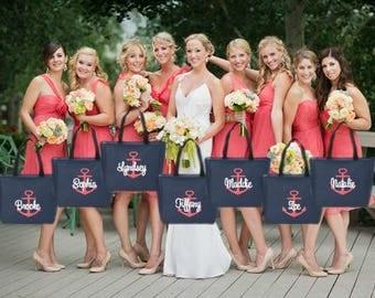 bridesmaid tote bags , nautical, anchor, bridesmaid gifts , tote bag , beach bag , bachelorette party gift ,wedding bag