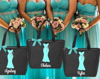 10 bridesmaid tote bags , bridesmaid gifts , tote bag , beach bag , bachelorette party gift ,wedding bag