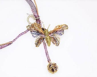 Butterfly necklace, gold purple, butterfly choker, cute necklace, boho, butterfly Jewelry, wire art sculpture, Christmas, bridesmaid gift