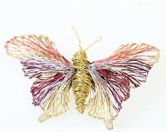 Butterfly brooch Purple gold Insect artwork Wire sculpture animal jewelry Large brooch Unique bridesmaid gift Spring wedding Modern hippie