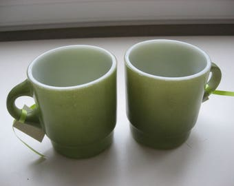 SALE 2 Vintage Collectible Anchor Hocking Fire King Stacking Mugs Avocado Green//1970s Collectible