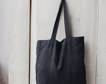 Linen Bag, Black Linen Tote, Black Tote, Linen Tote, Johanna Tote Bag, Johanna Bag, Shopper Bag, Reusable Bag, Grocery Bag, Reusable Handbag