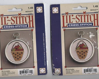 Apple Basket Ornament Counted Cross-Stitch Kit with Frame