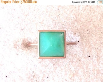 Summer Sale Chrysoprase and solid 14k rose gold pyramid ring