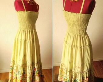 ON SALE Gorgeous Pistachio Green Peasant Chic Bohemian Floral Dress!