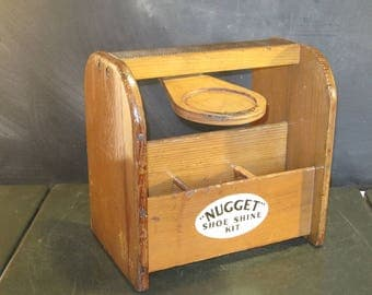Vintage Wooden Shoe Shine Box with Shoe Rest-Shoe Groomer