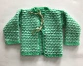 Vintage Mint Green Knitted Sweater with White Hearts 12-18 months