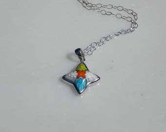 Star shaped pendant etsy multicolor sterling silver star shaped pendant necklace alan k design pendant mozeypictures Image collections