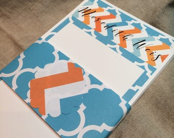 Personalized Bright Turquoise and Orange Note Pad
