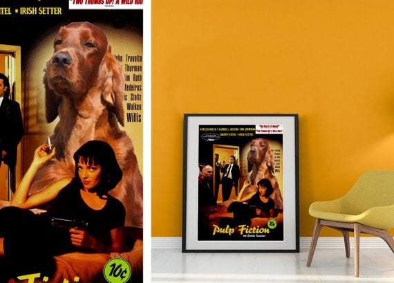Irish Setter Art Vintage Movie Poster Canvas Print Pulp Fiction Quentin Tarantino best gifts for Dog lover Custom Dog Portrait from photo