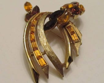 Vintage Brushed Gold Tone Brooch with Amber and Citrine Rhinestones