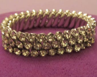 Vintage Rhinestone Three Row Expansion Bracelet - Made in Japan - Prom/Wedding
