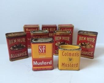 Vintage Advertising Kitchen Spice Tins - Ben Hur Spices - Vintage Schilling - Colmans Mustard - Vintage Spice Boxes - Instant Collection