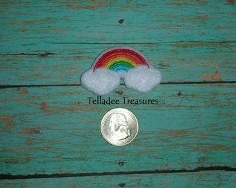 Rainbow and Clouds Feltie white felt - Great for Hair Bows, Reels, Clips and Crafts - Colors