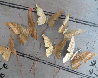 Vintage Copper Butterfly Twigs Metal Decorating Butterflies Fairy Garden Decor