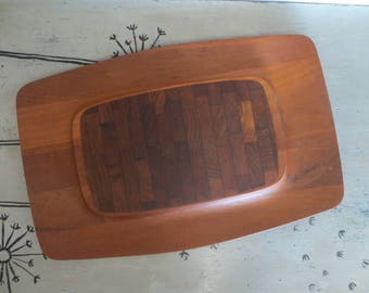 Dansk Teak Cheese Board and Cracker Tray Wood Cutting Board Cracker and Cheese Board Mid Century Jens Quistgaard