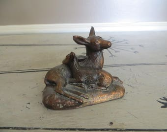 Vintage Copper Doe and Fawn Figurine Deer Figurine Baby Deer