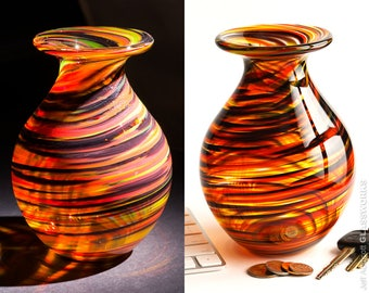 Hand Blown Glass Vase - Bulbous Shape with Hot Tortoise Color Streaks