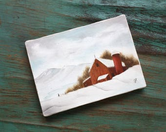 Mini Barn Landscape Painting, Vintage Original Art, Unframed Art, Rural, Country, Rural Landscape, Barn, Snow, Winter Scene