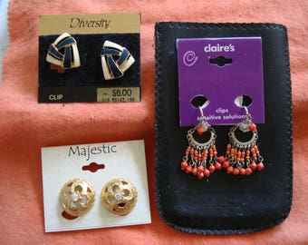 Lot of 3 NEW EARRINGS.  one price  for the GROUP of 3 items ,  please See pictures  for items  & description for details