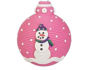 Snowman  Snowlady  polymer clay Christmas ornament