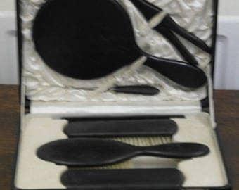 antique ebony wood boxed brush mirror glove stretcher button hook vanity dressing table set