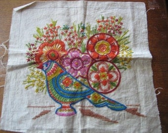 Vintage 70's Flowers & Bird Hand Embroidered Crewel