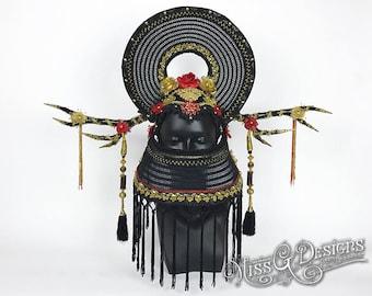 Black Antler Headdress with Mask
