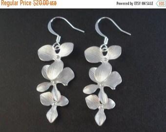 SALE Silver Orchid Earrings, Silver Flower Earrings,Three Flower, Dangle, Silver Earrings, Bridesmaid Earrings, Bridesmaid Gifts, Bridal Ear