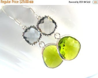 SALE Green Earrings, Green Apple Earrings, Peridot, Gray, Grey Earrings, Wedding, Bridesmaid Earrings, Bridal Earrings Jewelry, Bridesmaid G